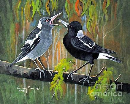 Australian Magpie feeding her young by Audrey Russill