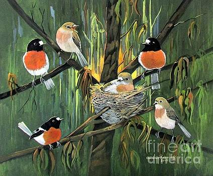 Australian Scarlet Robins by Audrey Russill