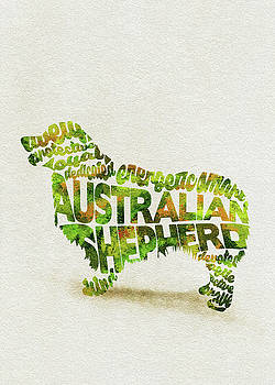 Australian Shepherd Dog Watercolor Painting / Typographic Art by Ayse and Deniz