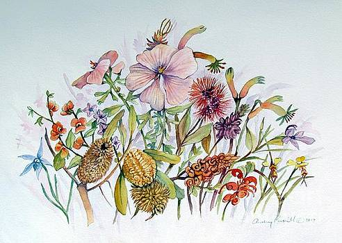 Australian Wildflowers with native orchids by Audrey Russill