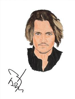 Autographed Johnny Depp by Michael Dijamco