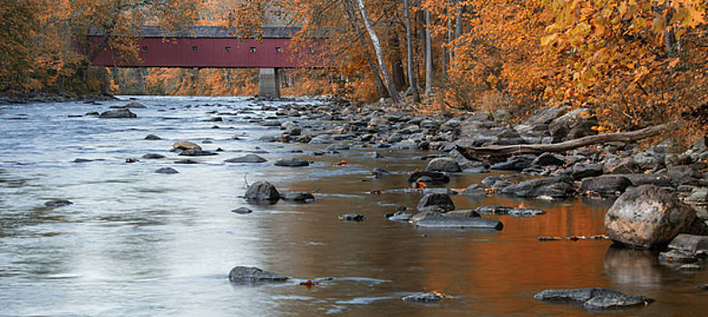Autumn at Historic West Cornwall CT Covered Bridge by Skyelyte Photography by Linda Rasch
