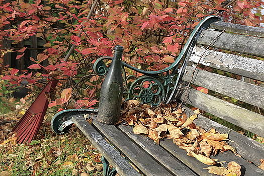 Autumn Bench and Bottle by Kimberly VanNostrand