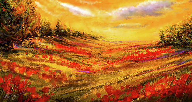 Autumn Burst - Autumn Foliage Colorful Art by Lourry Legarde