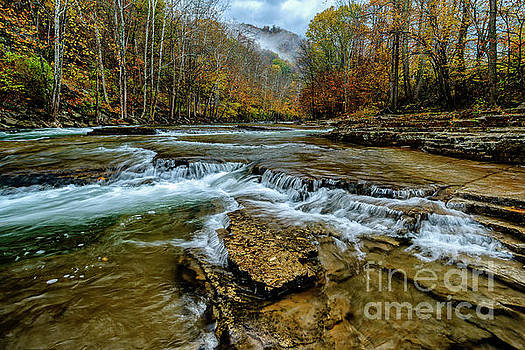 Autumn Cherry Falls Elk River by Thomas R Fletcher