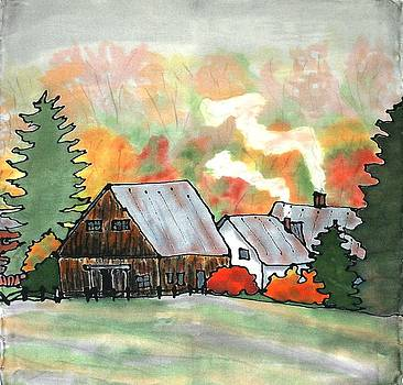 Autumn Chill Silk Painting by Linda Marcille