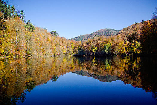 Autumn colors of the forest reflected on the pond, Yedigoller, Bolu, Turkey by Freepassenger By Ozzy CG