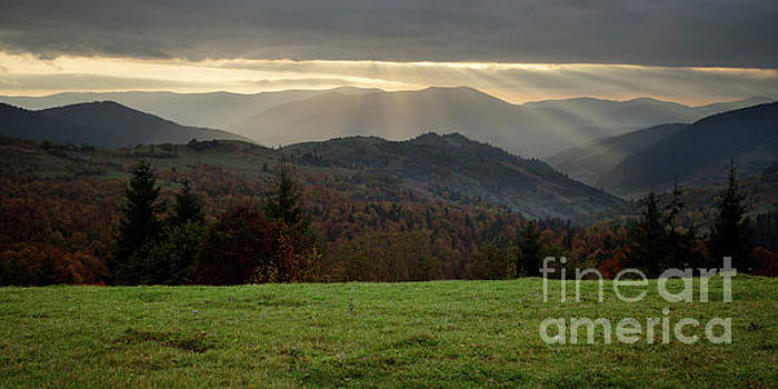 Autumn Evening In The Mountains Pass by Michael Lesiv