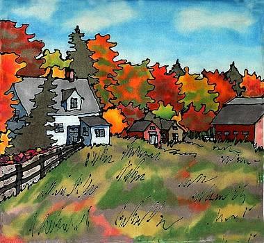 Autumn Farmstead Silk Painting by Linda Marcille