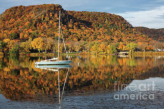 Autumn Hillsides with Sailboat Winona Minnesota Photo by Kari Yearous