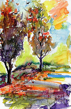Ginette Callaway - Autumn Landscape Trees Watercolor