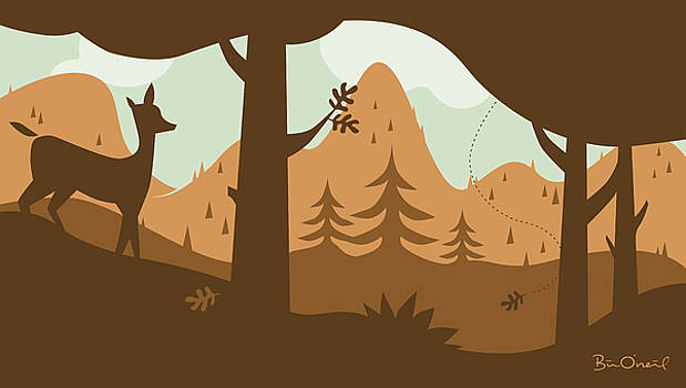 Autumn Landscape with Deer by Bill ONeil