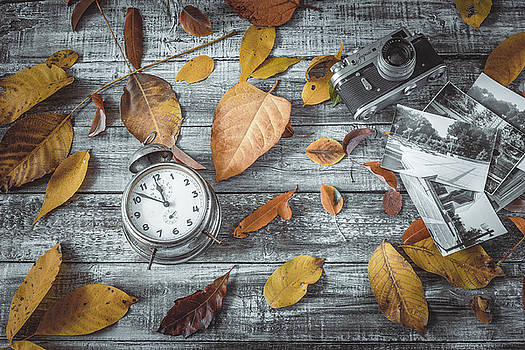 Autumn leaves camera and alarm clock on wooden table. by Julian Popov