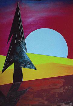 Autumn Moon Rise B by J R Seymour