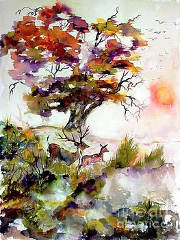 Ginette Callaway - Autumn Oak and Deer Sunset