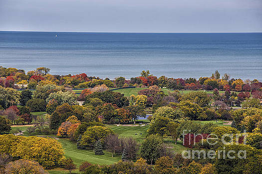 Autumn over the Park and Lake in Chicago Illinois  by Linda Matlow