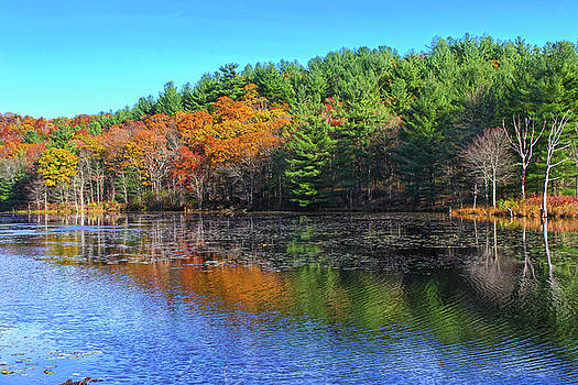Autumn Reflections on Rifle Range Pond, New England by Skyelyte Photography by Linda Rasch