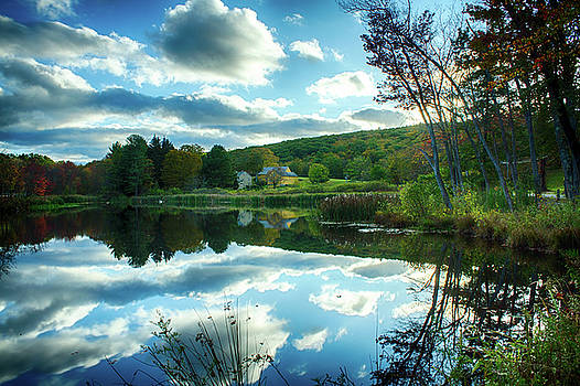 Autumn Reflections with Historic New England Barn Middlebury Connecticut by Skyeltye Photography by Linda Rasch