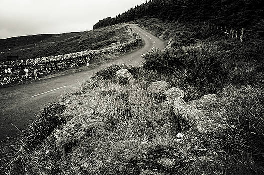 Jenny Rainbow - Autumn Road in Wicklow Hills. Black and White