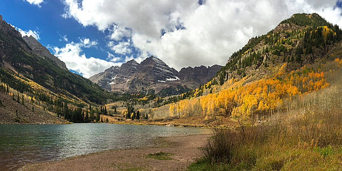 Autumn splendor at Maroon Lake in Aspen, Colorado. by Matthew MacPherson