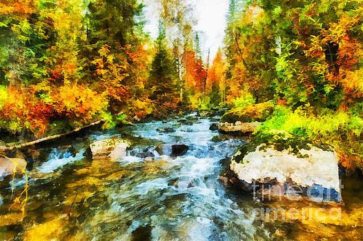Autumn stream inflowing to Nichka river illustration by Magomed Magomedagaev