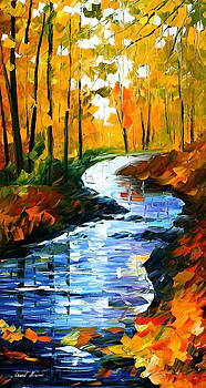 Autumn Stream - PALETTE KNIFE Oil Painting On Canvas By Leonid Afremov by Leonid Afremov