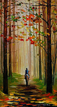 Autumn Stroll On A Horse - PALETTE KNIFE Oil Painting On Canvas By Leonid Afremov by Leonid Afremov