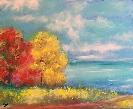 Autumn Trees at the Shore by Patricia Taylor