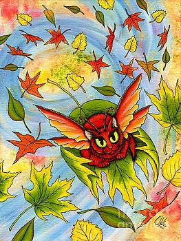 Autumn Winds Fairy Cat by Carrie Hawks