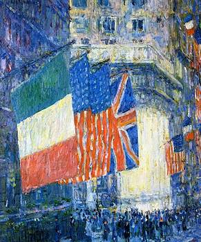 Avenue Of The Allies Aka Flags On The Waldorf by Hassam Childe