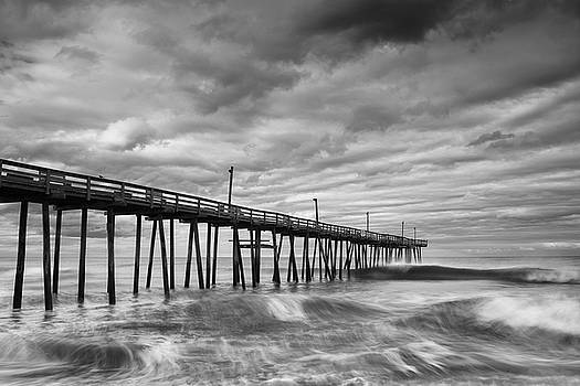 Ranjay Mitra - Avon Fishing Pier and Crashing Waves in Black and White
