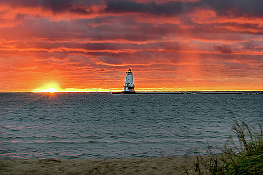 Awesome Sunset with Lighthouse  by Lester Plank