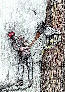 Axe versus Chainsaw stihl by Gordon Lavender