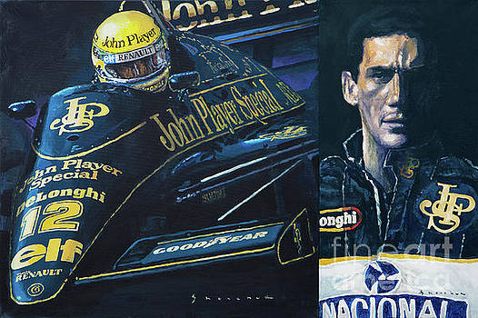 Ayrton Senna Lotus 98 T1986 Diptych by Yuriy Shevchuk