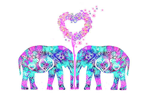 Aztec Elephants in love by MelOn Design