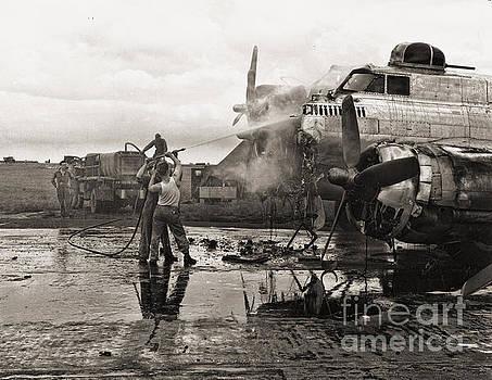 B-17 on Fire WWII by Eric Bjerke Sr