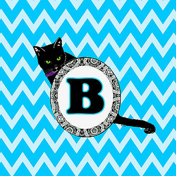 B Cat Chevron Monogram by Paintings by Gretzky
