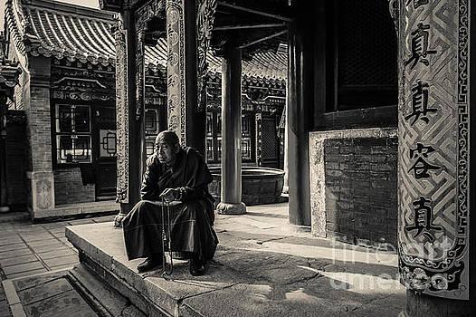 B-W Wisdom monk by Adrian Baljeu