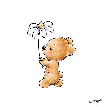 Baby Bear With Flower by Anna Abramska