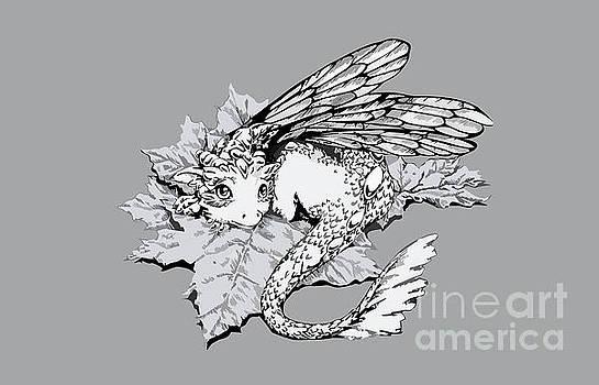 Baby dragon laying on leaf - grey by Anne Koivumaki - Fine Art Anne