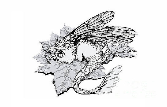 Baby dragon laying on leaf - white by Anne Koivumaki - Fine Art Anne