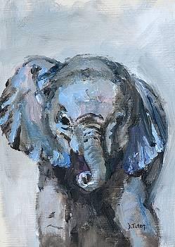Baby Elephant Safari Animal Painting by Donna Tuten