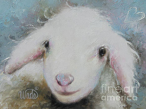 Baby Lamb on Blue by Vickie Wade