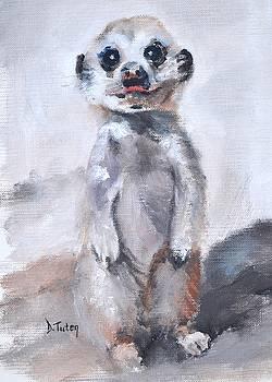 Baby Meerkat Safari Animal Painting by Donna Tuten