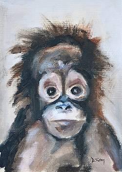 Baby Orangutan Safari Animal Painting by Donna Tuten