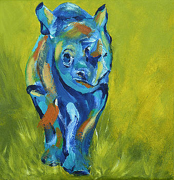 Baby Rhino Animal Art Painting by Catherine Jeltes