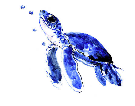 Baby Sea Turtle children art Blue Nursery art by Suren Nersisyan