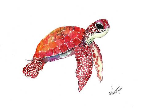 Baby Sea Turtle Children Room Artwork turtle illustration by Suren Nersisyan