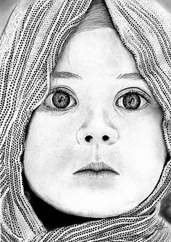 Baby With Scarf CloseUp Drawing by James Schultz