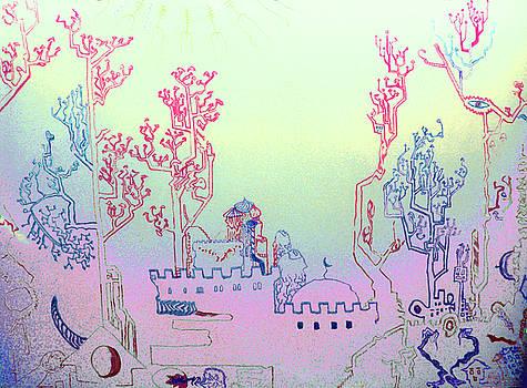 Babylon Landscape Blue by Raul Morales